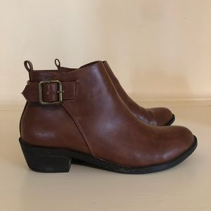 Brown Leather Forever21 Buckle Booties